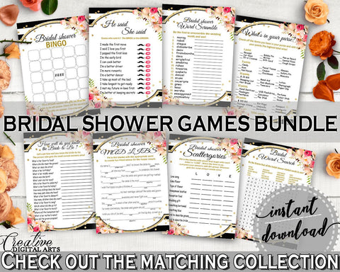 Games Bundle in Flower Bouquet Black Stripes Bridal Shower Black And Gold Theme, shower games, floral assortment, party organization - QMK20 - Digital Product