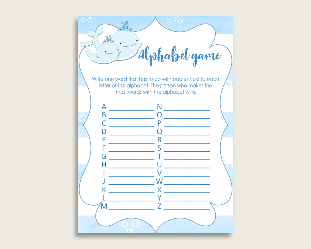 Blue White Alphabet Baby Shower Boy Game, Whale A-Z Guessing Baby Game Printable, ABC's Baby Item Name Game, Instant Download, wbl01