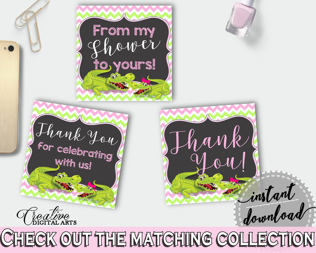 Baby shower THANK YOU favor tags square printable with green alligator and pink color theme for girl, instant download - ap001