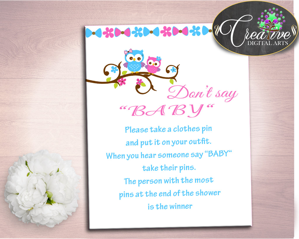 Dont Say Baby Baby Shower Dont Say Baby Owl Baby Shower Dont Say Baby Baby Shower Owl Dont Say Baby Pink Blue party organization owt01