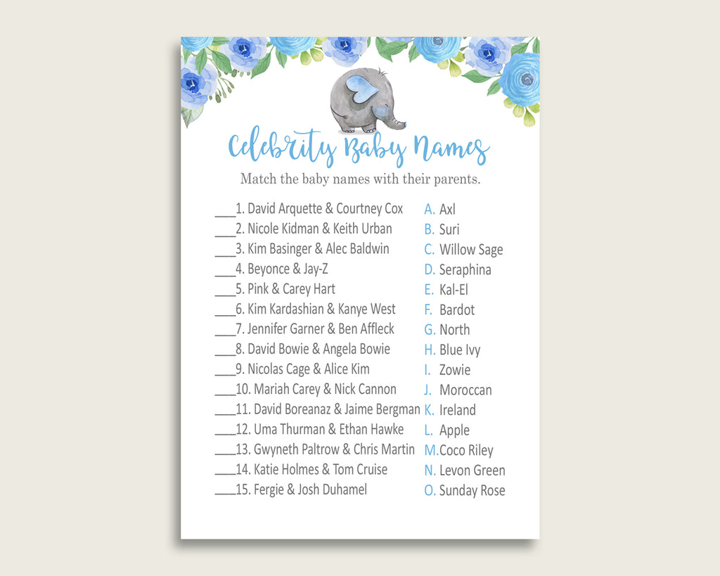 Blue Gray Celebrity Baby Names, Elephant Blue Baby Shower Boy Name Game Printable, Celebrity Match Game, Famous Babies Game, Celebrity ebl01