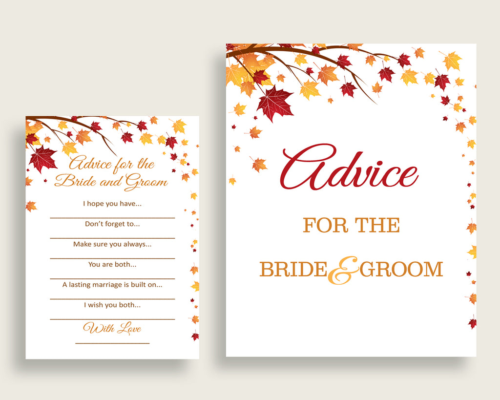 Advice Bridal Shower Advice Fall Bridal Shower Advice Bridal Shower Autumn Advice Brown Yellow party organising digital download party YCZ2S