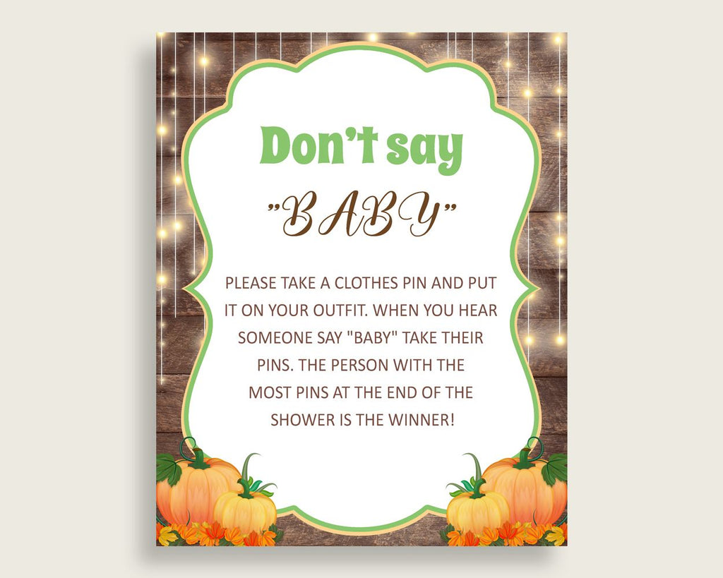 Dont Say Baby Baby Shower Dont Say Baby Autumn Baby Shower Dont Say Baby Baby Shower Autumn Dont Say Baby Brown Orange prints 0QDR3 - Digital Product