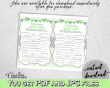 MAD LIBS baby shower game with chevron green theme printable, digital Jpg Pdf, instant download - cgr01