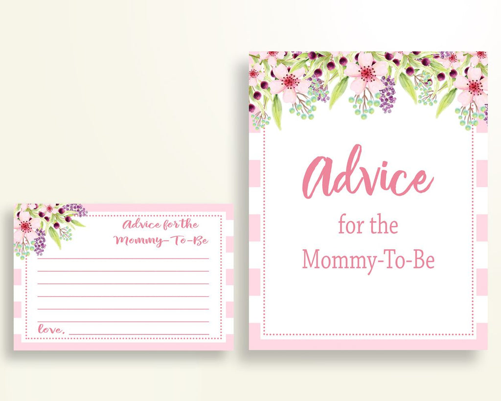 Advice Cards Baby Shower Advice Cards Pink Baby Shower Advice Cards Baby Shower Flowers Advice Cards Pink Green digital download 5RQAG - Digital Product