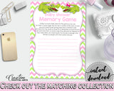 Baby Shower MEMORY game with green alligator and pink color theme, instant download - ap001
