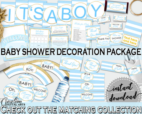 Baby Shower Decoration package bundle printable with Blue Stripes for boys, digital Jpg Pdf - Instant Download - bs002