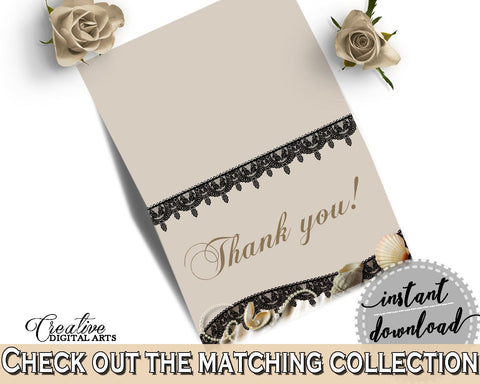 Seashells And Pearls Bridal Shower Thank You Card in Brown And Beige, recognition, beige bridal, party décor, party supplies, prints - 65924 - Digital Product