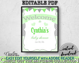 Baby Boy Girl Shower WELCOME sign editable with chevron green color theme printable, digital files, instant download - cgr01