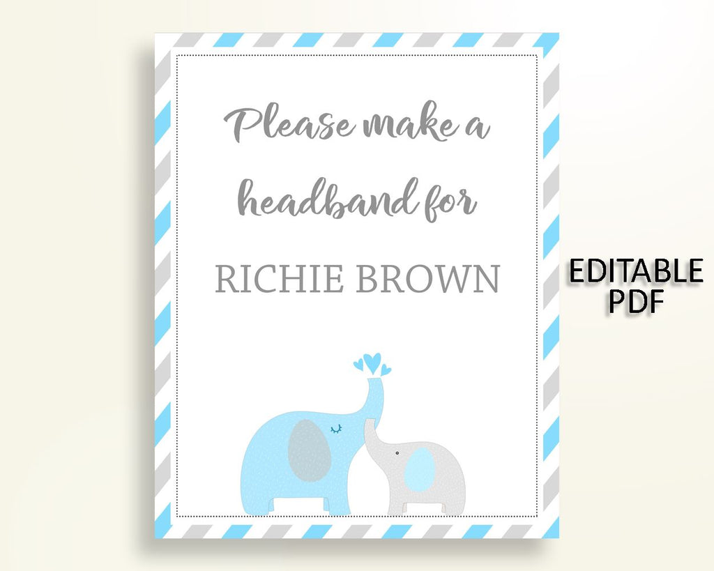 Headband Sign Baby Shower Headband Sign Elephant Baby Shower Headband Sign Blue Gray Baby Shower Elephant Headband Sign prints digital C0U64 - Digital Product