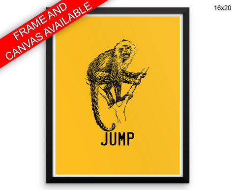 Jump Monkey Print, Beautiful Wall Art with Frame and Canvas options available Living Room Decor