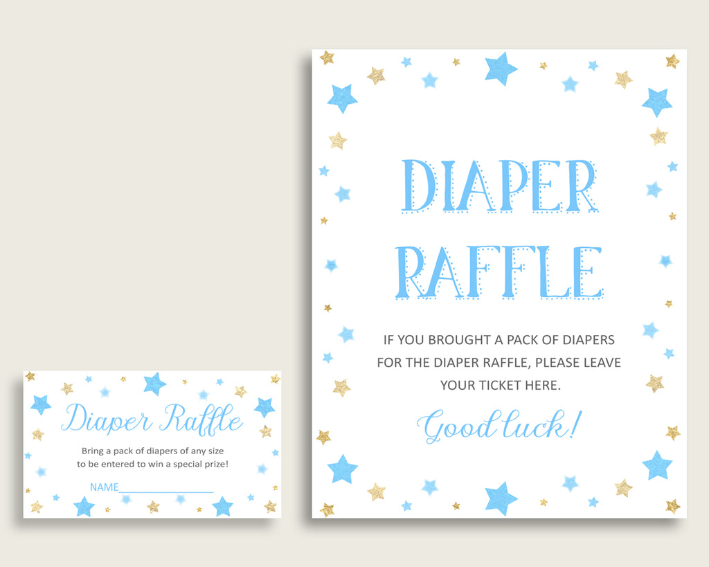 "Stars Baby Shower Diaper Raffle Tickets Game, Boy Blue Gold Diaper Raffle Card Insert and Sign Printable, Instant Download, 3.5x2"", bsr01"