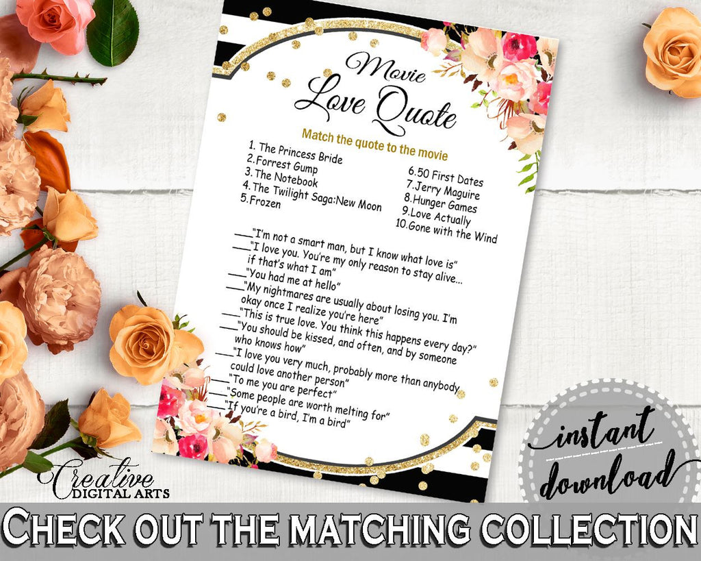 Black And Gold Flower Bouquet Black Stripes Bridal Shower Theme: Movie Love Quote Game - film quotations, paper supplies, prints - QMK20 - Digital Product