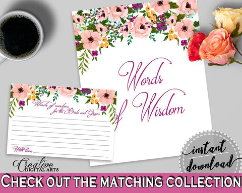 watercolor flowers bridal shower words of wisdom for the bride and groom in white and pink