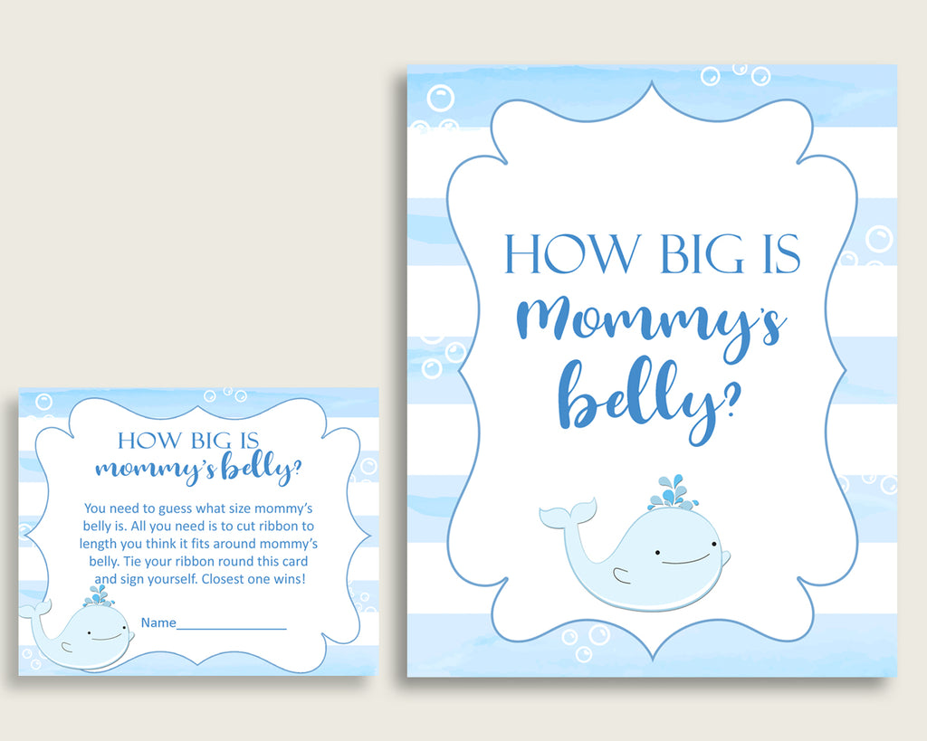 Blue White How Big Is Mommy's Belly Game, Whale Baby Shower Boy, Guess Mommys Belly Size, Mommy Tummy Game, Instant Download, wbl01