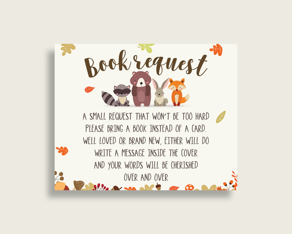 Woodland Baby Shower Bring A Book Insert Printable, Gender Neutral Brown Beige Book Request, Fall Books For Baby, Book Instead Of w0001