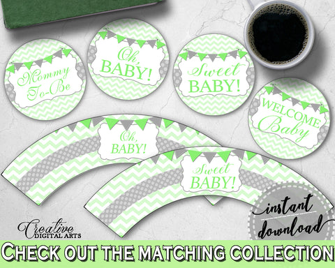 Baby shower girl boy CUPCAKE TOPPERS and cupcake WRAPPERS printable with chevron green theme, instant download - cgr01