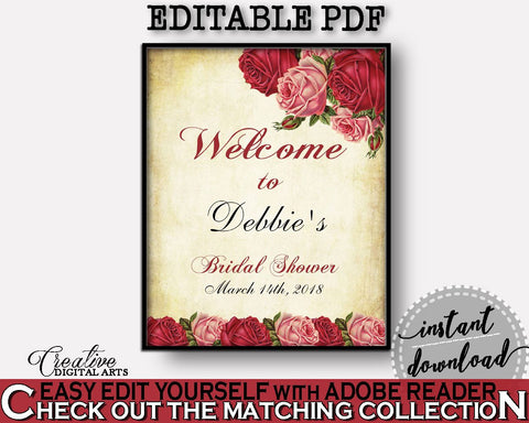 Welcome Sign Bridal Shower Welcome Sign Vintage Bridal Shower Welcome Sign Bridal Shower Vintage Welcome Sign Red Pink pdf jpg XBJK2 - Digital Product
