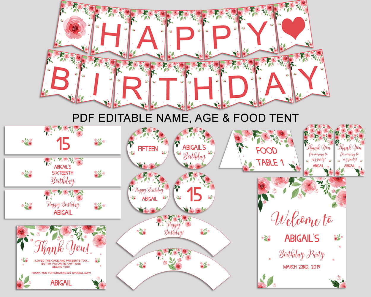 Birthday Watercolor Flowers Party Decor Watercolor Flowers Editable Package Pink Green Birthday Decoration Watercolor Flowers Birthday SLEPQ