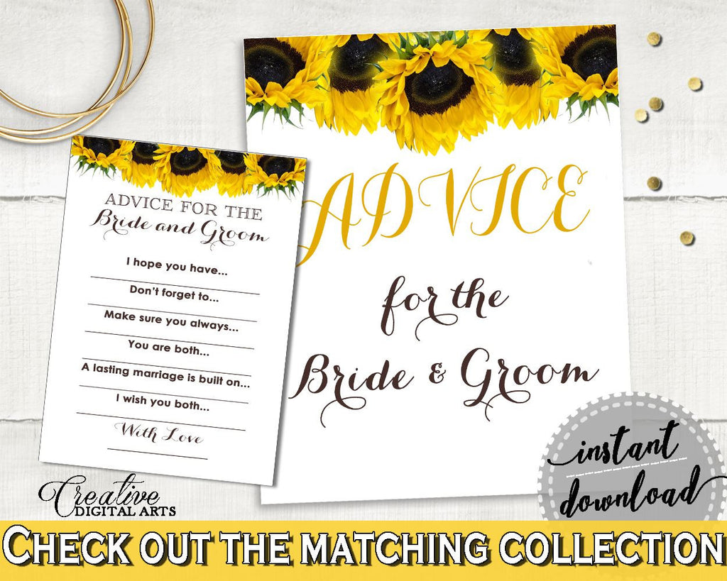 Advice Bridal Shower Advice Sunflower Bridal Shower Advice Bridal Shower Sunflower Advice Yellow White prints, printables, pdf jpg SSNP1 - Digital Product