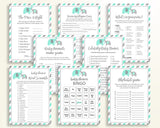 Games Baby Shower Games Turquoise Baby Shower Games Baby Shower Elephant Games Green Gray party plan digital download party stuff 5DMNH - Digital Product