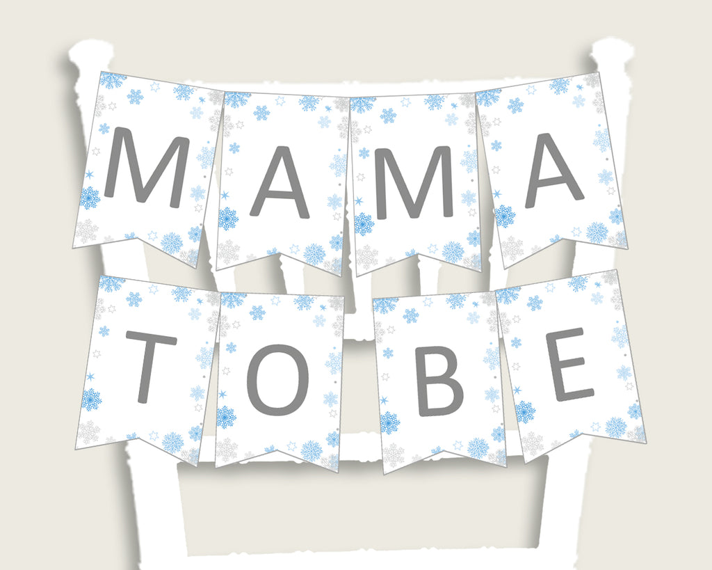 Chair Banner Baby Shower Chair Banner Snowflake Baby Shower Chair Banner Blue Gray Baby Shower Snowflake Chair Banner party ideas NL77H