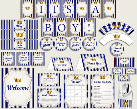 Blue Gold Baby Shower Decorations Boy Kit, Royal Prince Baby Shower Party Package Printable, Instant Download, King Gold Crown rp001