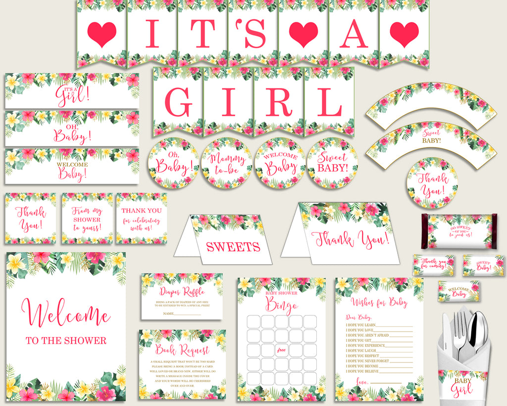 Pink Green Baby Shower Decorations Girl Kit, Hawaiian Baby Shower Party Package Printable, Instant Download, Luau Aloha Palm Leaves 955MG