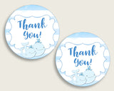 Whale Baby Shower Round Thank You Tags 2 inch Printable, Blue White Favor Gift Tags, Boy Shower Hang Tags Labels, Digital File wbl01