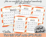 60 Baby Shower BINGO cards game and empty gift BINGO cards with orange striped color theme printable, instant download - bs003