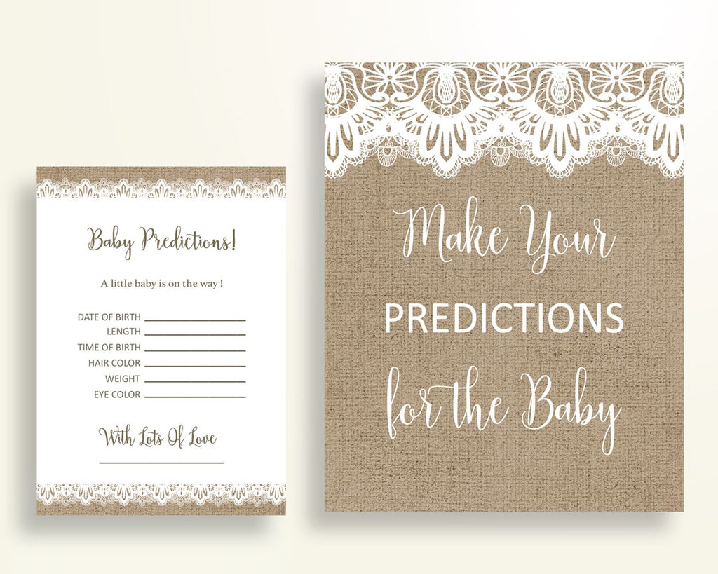 Baby Predictions Baby Shower Baby Predictions Burlap Lace Baby Shower Baby Predictions Baby Shower Burlap Lace Baby Predictions Brown W1A9S - Digital Product