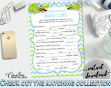 MAD LIBS baby shower game with green alligator and blue color theme, instant download - ap002
