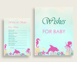 Pink Green Wishes For Baby Cards & Sign, Under The Sea Baby Shower Girl Well Wishes Game Printable, Instant Download, Popular Ocean uts01