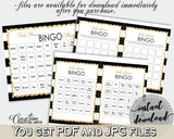 Baby Shower BINGO 60 cards game and empty gift BINGO cards with black white stripes color theme printable, instant download - bs001