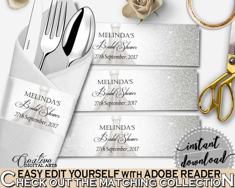 Napkin Ring Editable in Silver Wedding Dress Bridal Shower Silver And White Theme, editable napkin ring, prints, digital print - C0CS5 - Digital Product