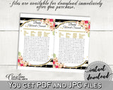 Black And Gold Flower Bouquet Black Stripes Bridal Shower Theme: Word Search - bridal shower words, digital print, party supplies - QMK20 - Digital Product