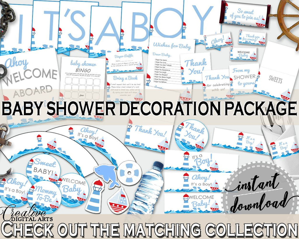 Decorations Baby Shower Decorations Nautical Baby Shower Decorations Baby Shower Nautical Decorations Blue Red party ideas, prints DHTQT - Digital Product