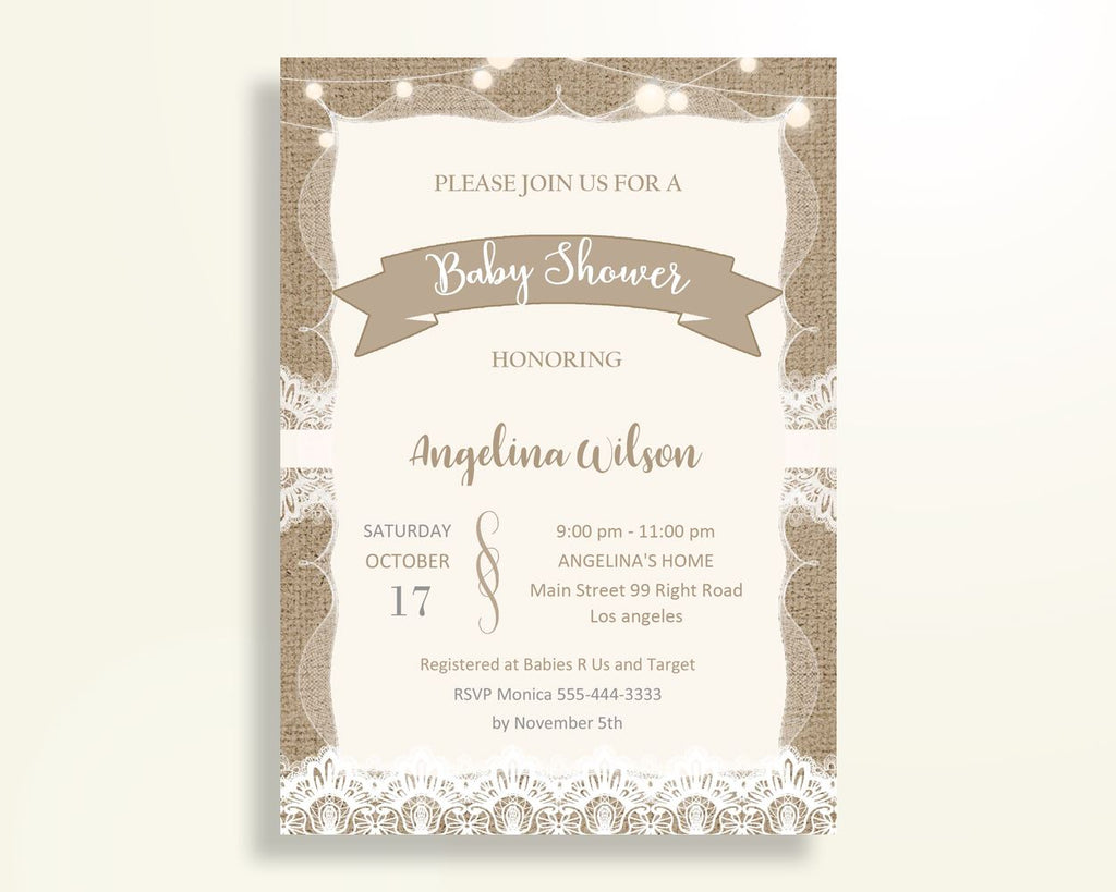 Invitation Baby Shower Invitation Burlap Lace Baby Shower Invitation Baby Shower Burlap Lace Invitation Brown White party decor party W1A9S - Digital Product