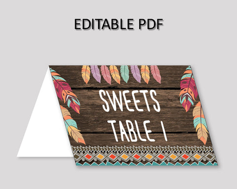 Wild One Birthday Party Food Tent, Brown Green Event Tent Cards, Feathers Food Table Labels, Party Foldable Food Tent Boy Girl, LQES5