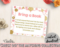 Pink Gold Bring A Book, Baby Shower Bring A Book, Dots Baby Shower Bring A Book, Baby Shower Dots Bring A Book bridal shower idea - RUK83 - Digital Product