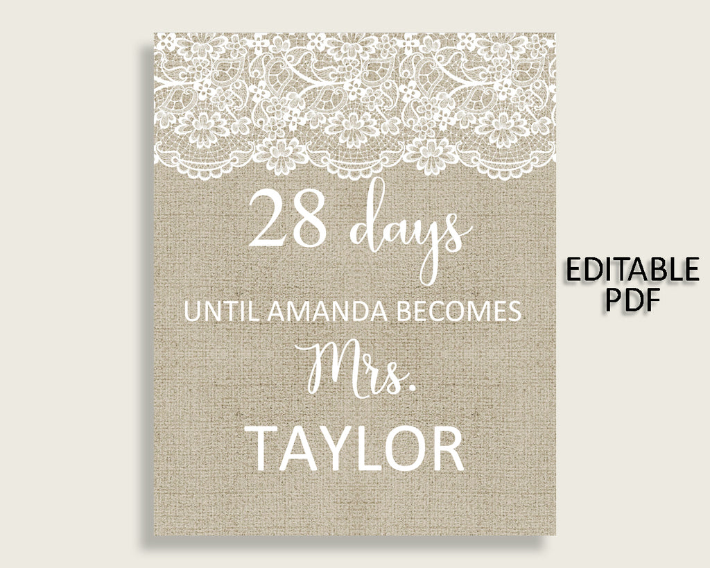 Days Until Becomes Bridal Shower Days Until Becomes Burlap And Lace Bridal Shower Days Until Becomes Bridal Shower Burlap And Lace NR0BX
