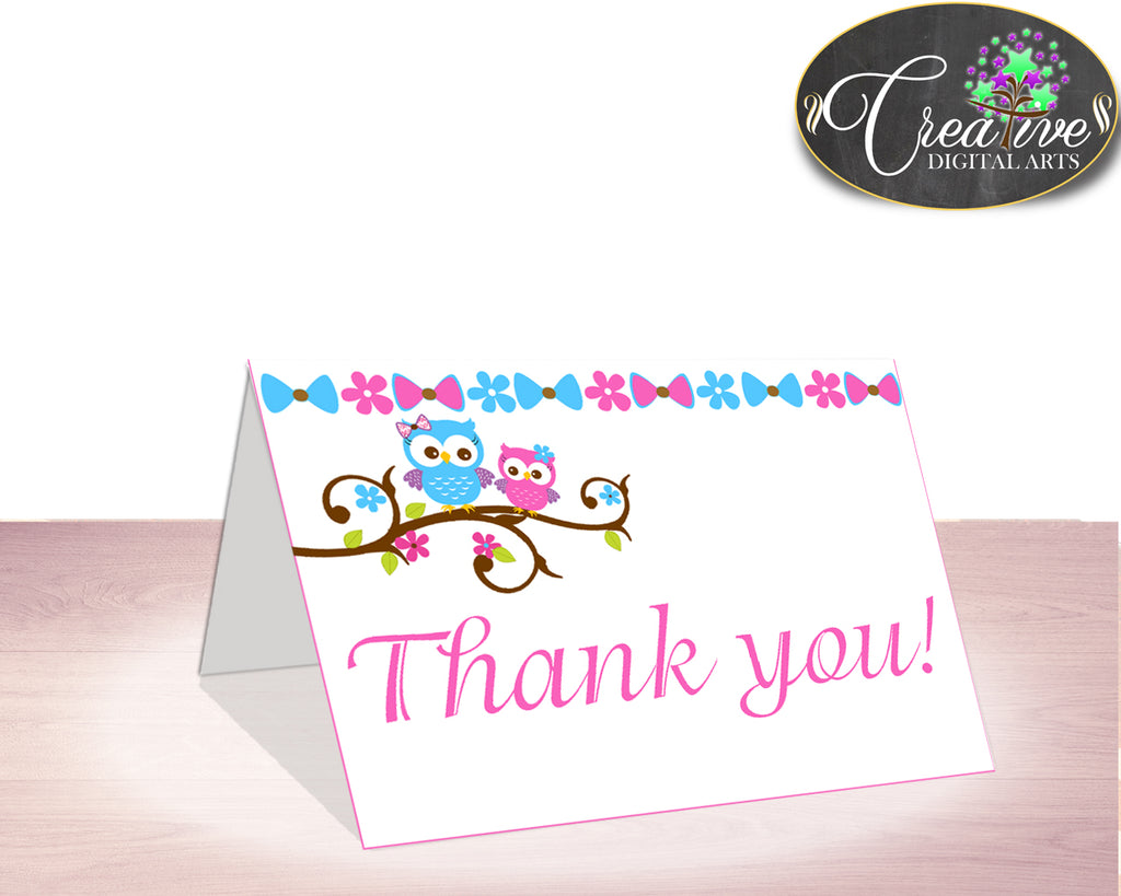 Thank You Card Baby Shower Thank You Card Owl Baby Shower Thank You Card Baby Shower Owl Thank You Card Pink Blue party theme owt01