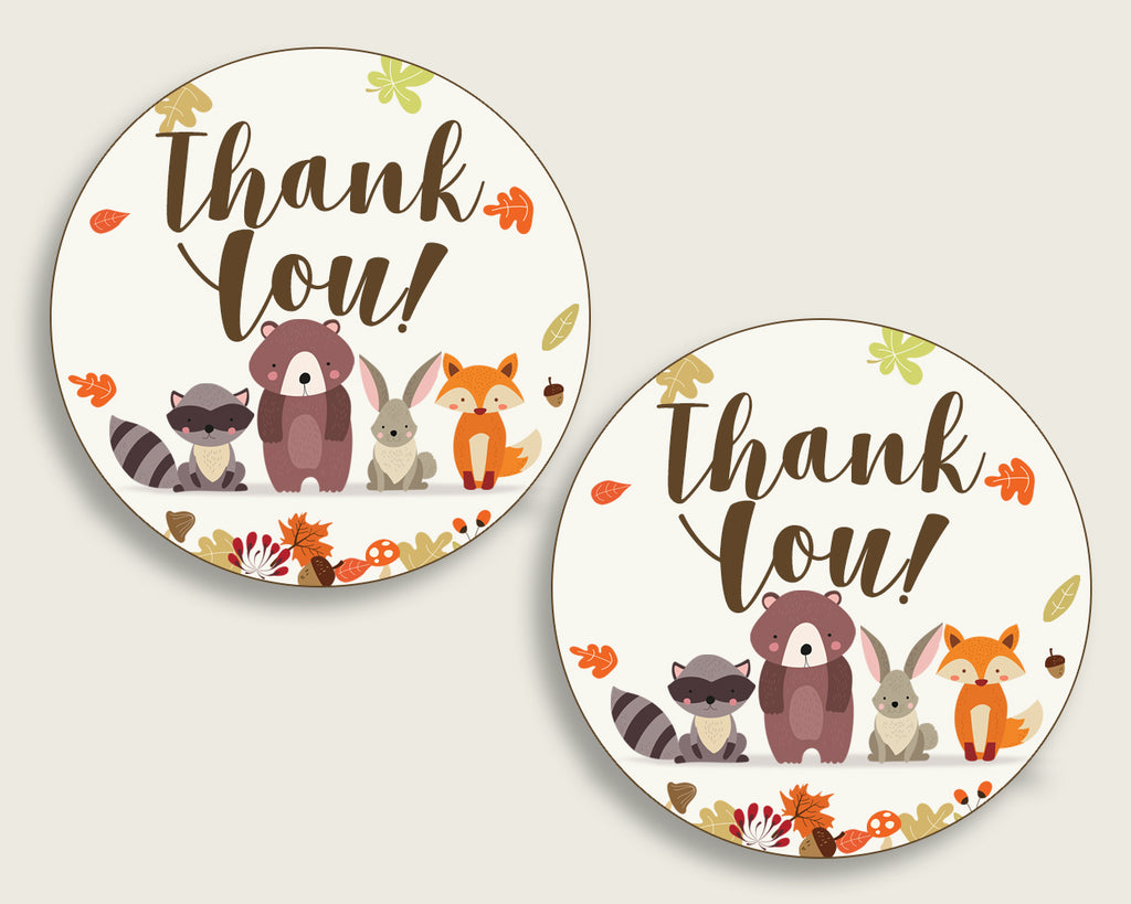 Woodland Baby Shower Round Thank You Tags 2 inch Printable, Brown Beige Favor Gift Tags, Gender Neutral Shower Hang Tags Labels w0001
