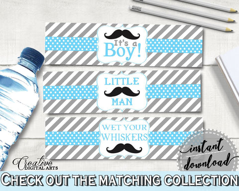 Blue Gray Bottle Labels, Baby Shower Bottle Labels, Mustache Baby Shower Bottle Labels, Baby Shower Mustache Bottle Labels pdf jpg 9P2QW - Digital Product