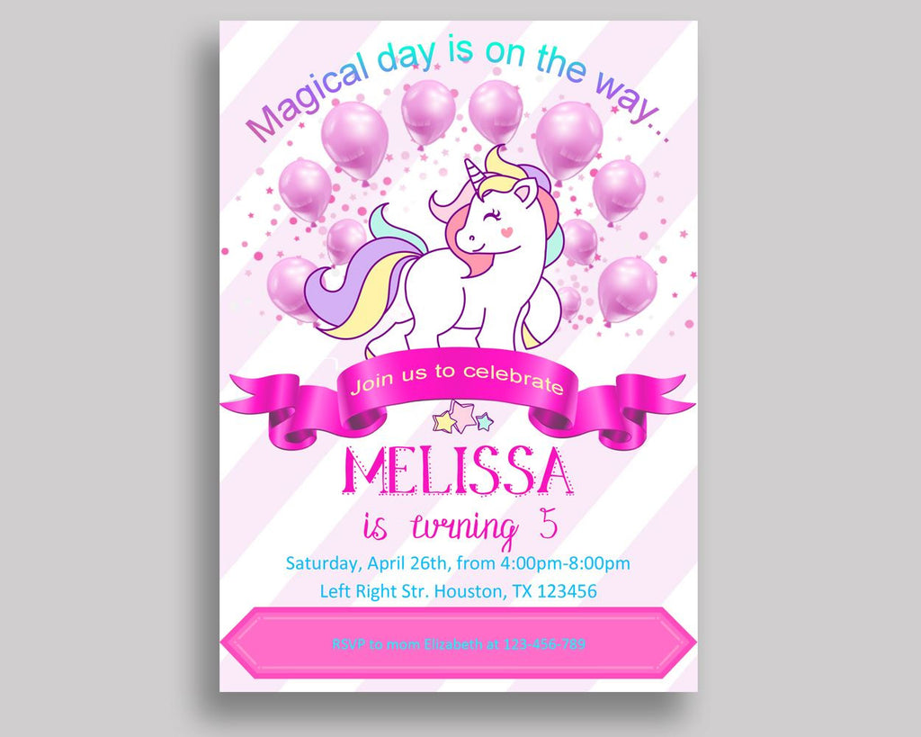 Unicorn Birthday Invitation Unicorn Birthday Party Invitation Unicorn Birthday Party Unicorn Invitation Girl unicorn party invite LUO4C - Digital Product