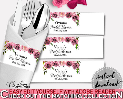 Napkin Rings Bridal Shower Napkin Rings Floral Bridal Shower Napkin Rings Bridal Shower Floral Napkin Rings Pink Purple party theme - BQ24C - Digital Product