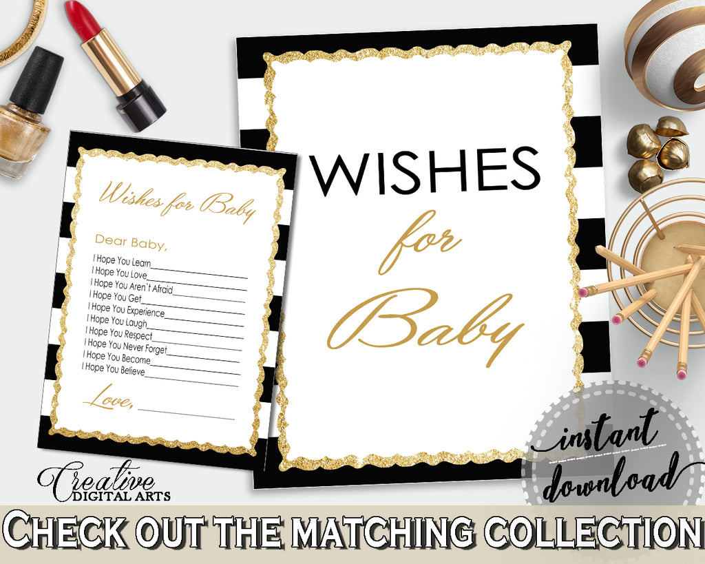 WISHES FOR BABY activity advice for baby shower with black stripes color theme printable, glitter gold, Jpg Pdf, instant download - bs001