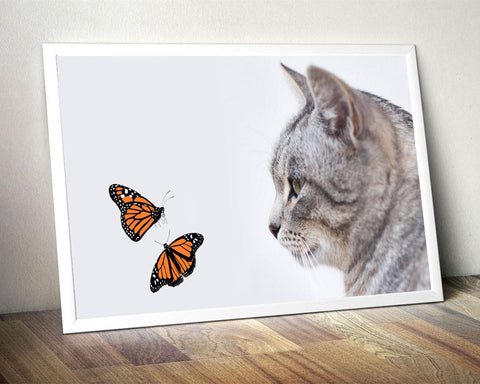 Wall Art Butterflies Digital Print Kitten Poster Art Butterflies Wall Art Print Kitten Living Room Art Kitten Living Room Print Butterflies - Digital Download