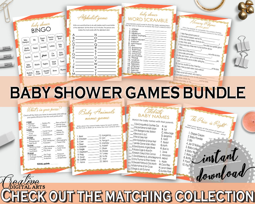 8 Orange Baby Shower games, Invitation Editable, gender neutral shower prints, baby shower games stripes, pdf jpg - Instant Download - bs003