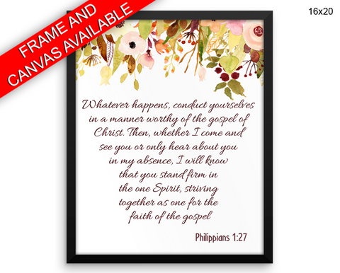 Philippians Print, Beautiful Wall Art with Frame and Canvas options available Scripture Decor